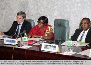 Dr. Sintiki Tarfa Ugbe, ECOWAS, Director, Gender,Youth &      Sports(m), EU Delegation, Philippe Peyredieu du Charlat(L) and Koivogui      Niouma of the INTERPOL(r) Abuja,28 July2015-(1)
