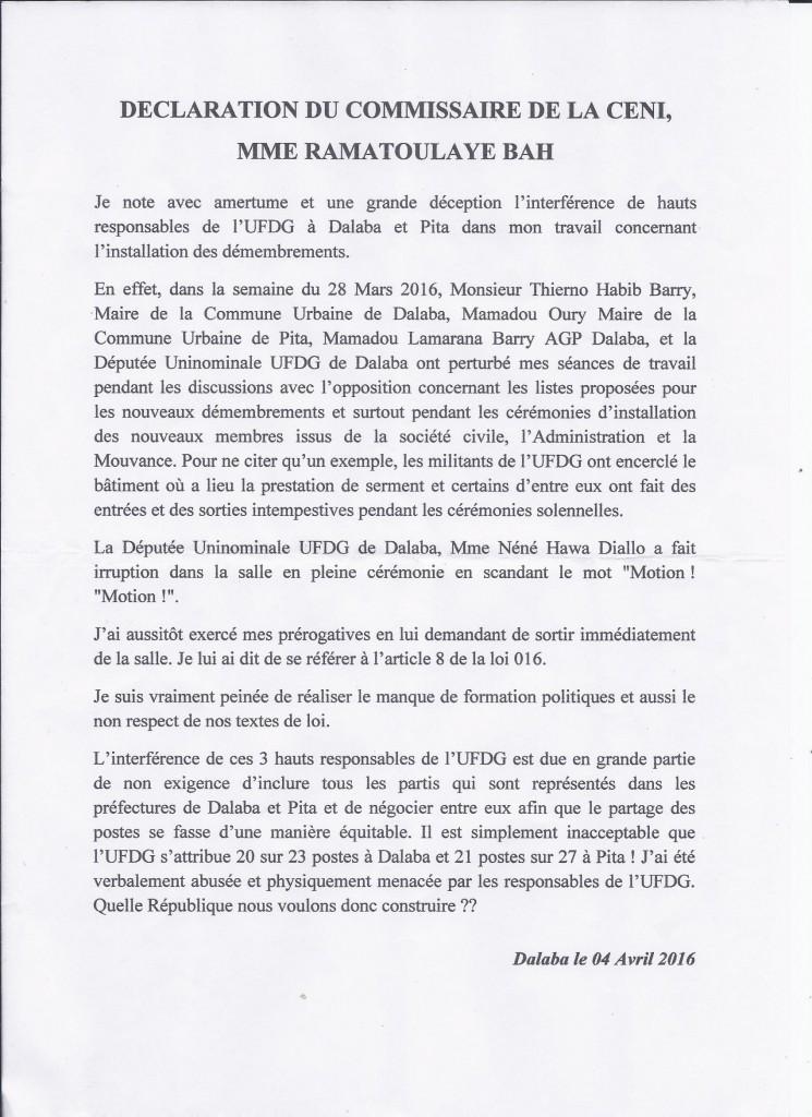 CENI declaration Mme Bah 001