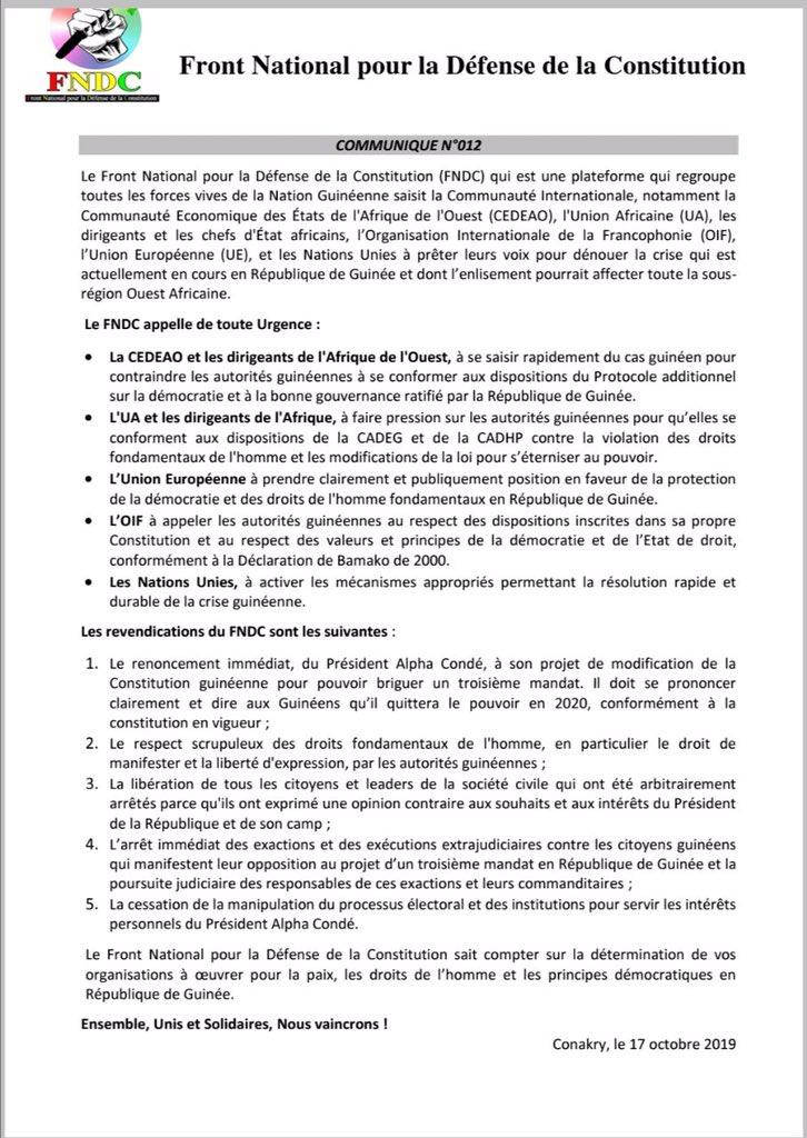 FNDC - Crise politique en Guinée : le FNDC saisit la CEDEAO, l'UA, l'OIF et l'ONU (communiqué)